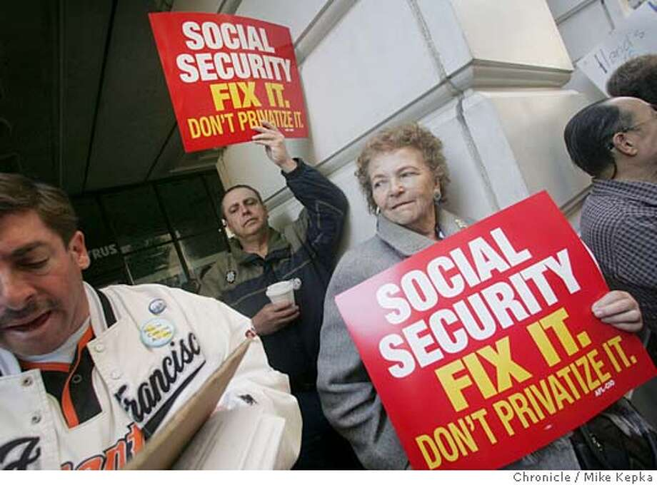 schwab013_mk.jpg  Randall Smedley and is his mother Edna Smedley of San Mateo showed up to support the AFL-CIO who staged a protest at the Charles Schwab building on Montgomery in the financial district, claiming Schwab is a leading proponent of personal Social Security Accounts. It is one of dozens of protests staged by labor around the country today at Schwab and Wachovia Corp. offices. Labor accuses Schwab and Wachovia of backing personal accounts to gain profits from management fees, a charge the companies reject.3/31/05 Mike Kepka / The Chronicle MANDATORY CREDIT FOR PHOTOG AND SF CHRONICLE/ -MAGS OUT Photo: Mike Kepka
