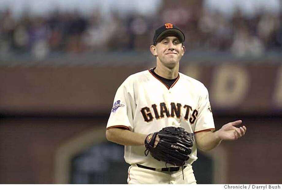 GIANTS70-C-23OCT02-SP-DB --- Happy Kirk Rueter. The San Francisco Giants play the Anaheim Angels in Game 4 of the World Series at Pac Bell Park in San Francisco, Ca., on Wednesday, October 23, 2002.  (PHOTO BY DARRYL BUSH/THE SAN FRANCISCO CHRONICLE) NORTHERN CALIF. MANDATORY CREDIT: PHOTOG AND SAN FRANCISCO CHRONICLE. MAGS OUT, Photo: DARRYL BUSH