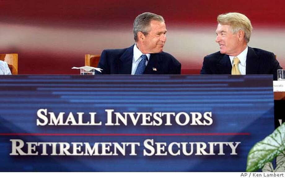 "President Bush, left, and businessman Charles Schwab, right, of the brokerage firm Charles Schwab & Co., smile to one another during a session on small investors and retirement security, during the ""President's Economic Forum,"" held at Baylor University in Waco, Texas, Tuesday, Aug. 13, 2002. Schwab told Bush the confidence of American investors ""is at a very fragile point."" While he said that the stock markets downturn will be only temporary, Schwab added, ""The bear market were suffering right now is probably the worst weve ever seen."" (AP Photo/Ken Lambert) Photo: KEN LAMBERT"