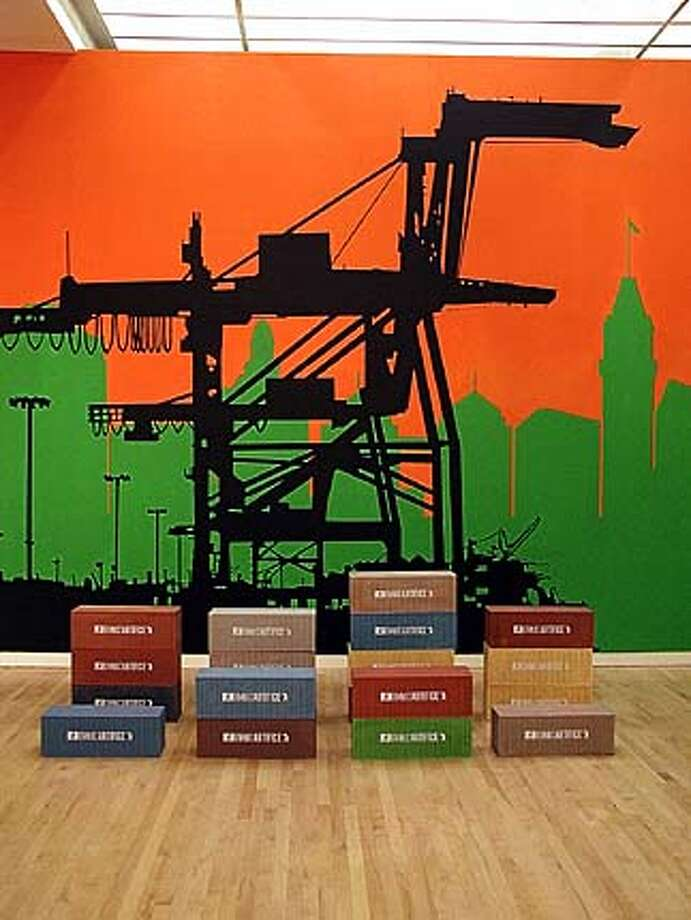 Justin Artifice (21 Grand)  Sunrise Over Oakland with 20 Foot Boxes 2004  acrylic and latex on wall/wood, acrylic, ink installation / 8 1/4 x 24 x 8 1/2� each