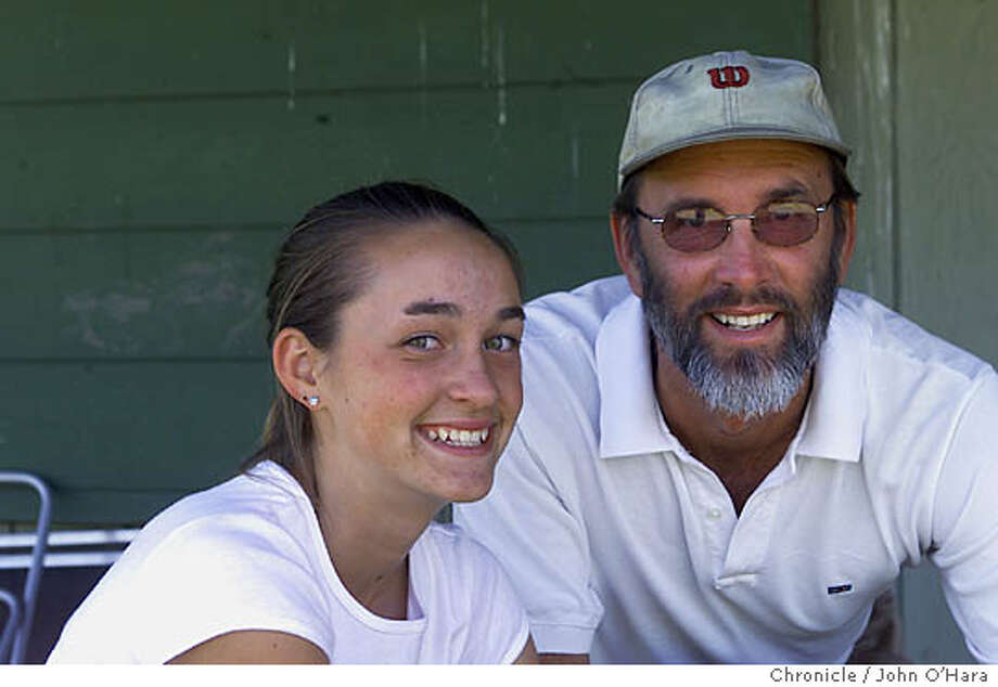NBTENNIS091-C-31MAY00-NF-JO  Santa Rosa,CA. Bennit Valley Golf Course and Tennis Facility Alexandra Borowicz and her Dad/Coach David.  Photo by....John O'hara Ran on: 10-08-2004  Alexandra Borowicz and her father, David, were all smiles early in Alexandra's tennis career before she was sidelined by an injury. She appears to be back in form, however, with major wins. Photo: JOHN O'HARA