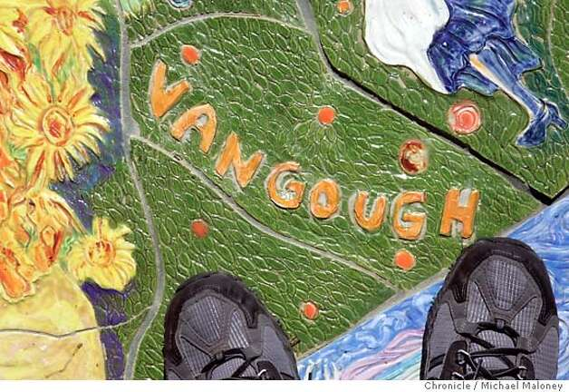"Van Gogh is misspelled with the ""u"".  A $40,000 ceramic mural unveiled outside Livermore's new library when it opened earlier this year will cost the city $6,000. because of the artist's misspelled names. Einstein, Shakespeare, Vincent Van Gogh, Michelangelo and seven other historical figures were misspelled. ""Our library director is very frustrated that she has this lovely new library and it has all these misspellings in front,"" said city councilwoman Lorraine Dietrich, one of three council members who voted Monday to authorize paying another $6,000, plus expenses, to fly the artist up from Miami to fix the errors. Artist Maria Alquilar said she was willing to fix the brightly colored 16-foot-wide circular work, but offered no apologizes for the 11 misspellings among the 175 names. ""The importance of this work is that it is supposed to unite people,"" Alquilar said. ""They are denigrating my work and the purpose of this work."" Photo by Michael Maloney / San Francisco Chronicle Photo: Michael Maloney"