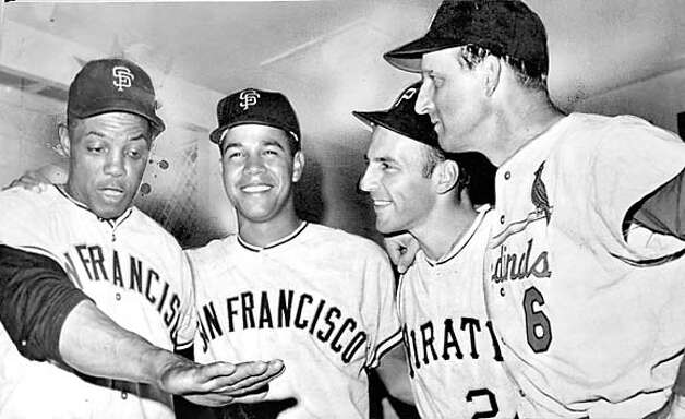 32ND ALL STAR GAME WON BY THE NATIONAL LEAGUE. FROM LEFT ARE: WILLIE MAYS, JUAN MARICHAL, THE WINNING PITCHER, DICK GROAT, WHO DROVE THE FIRST NATIONAL LEAGUE RUN HOME, AND STAN MUSIAL.