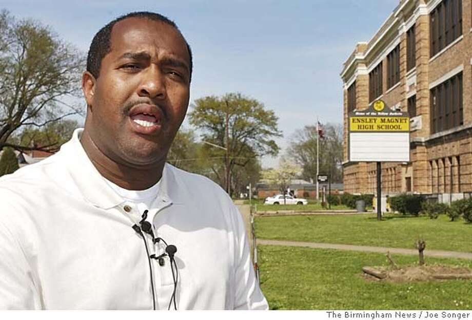 Ensley High School basketball coach at press conference in front of Ensley High School after getting a favorable decision from the US Supreme Court on a discrimination case Tuesday March 29, 2005........ AP Photo/Joe Songer/The Birmingham News Photo: JOE SONGER