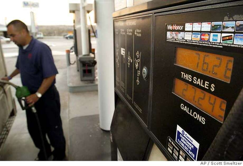 Erick Dominguez fills his company truck up at the ConocoPhillips 76 station in Victorville, Calif. Wednesday, March 16, 2005. Prices are increasing more sharply in the West than in any other region. (AP Photo/The Daily Press, Scott Smeltzer) MANDATORY CREDIT Photo: MEMBER