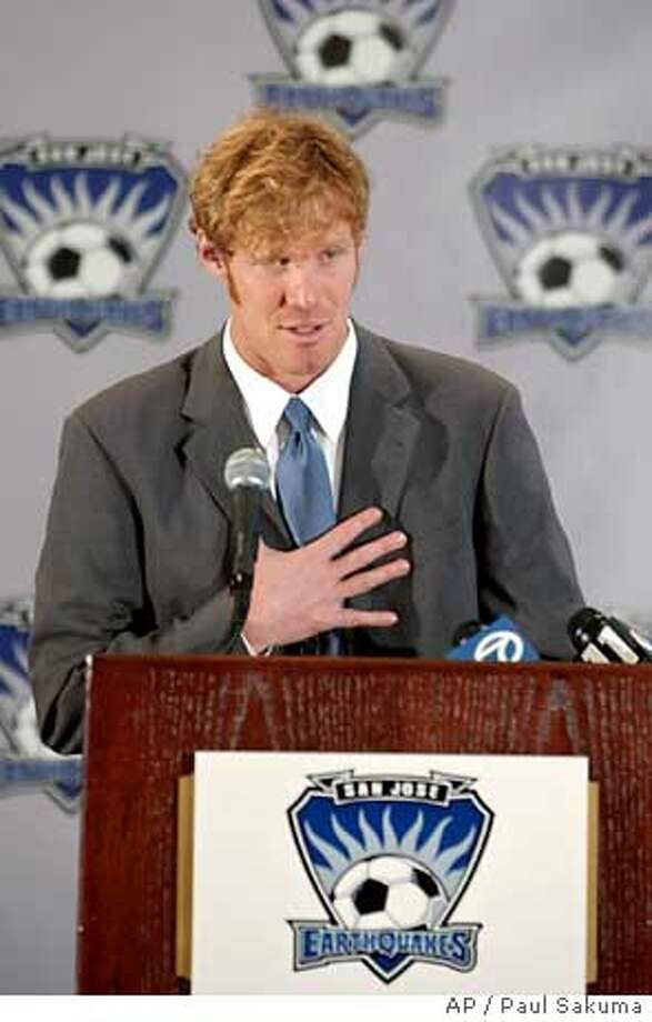 Former United States National Team soccer star Alexi Lalas speaks at a news conference in San Jose, Calif., Tuesday, Jan. 27, 2004, afer he was named president and general manager of the MLS Cup Champion San Jose Earthquakes. (AP Photo/Paul Sakuma) Ran on: 03-30-2005  Quakes GM Alexi Lalas is encouraged by the number of season-ticket sales this year. Photo: PAUL SAKUMA