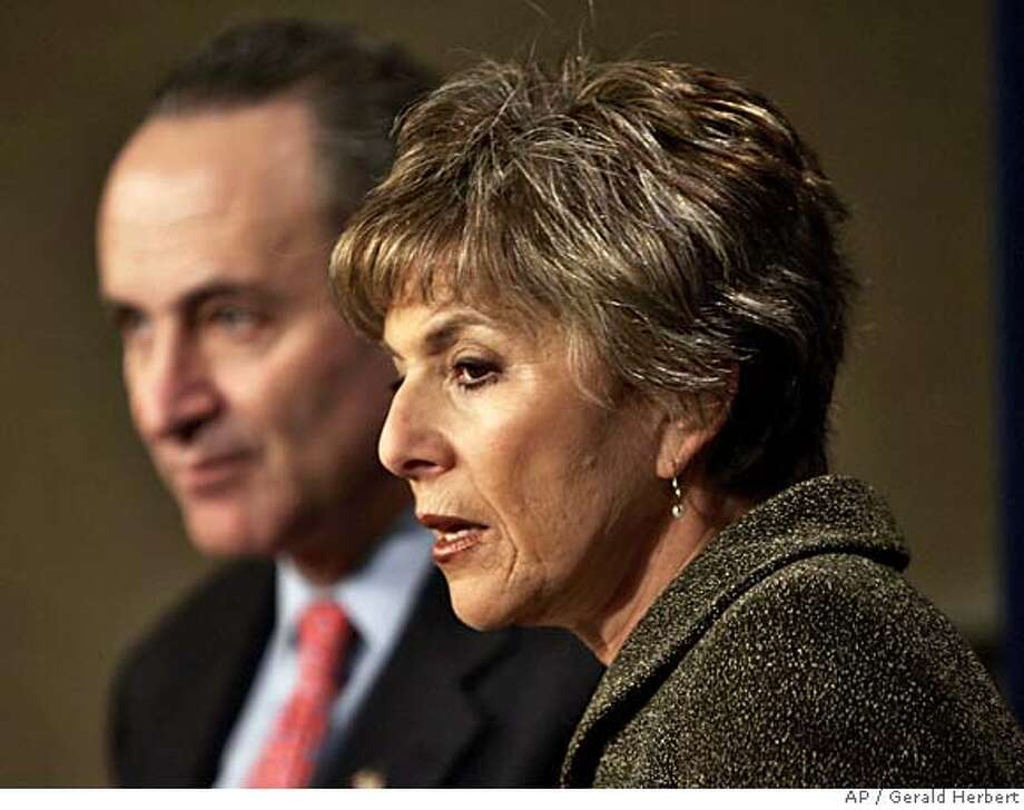 Sen. Chuck Schumer, D-N.Y., and Sen. Barbara Boxer, D-Calif., hold a press conference over rising gas prices on Capitol Hill in Washington, Wednesday, March 9, 2005. (AP Photo/Gerald Herbert) Photo: GERALD HERBERT