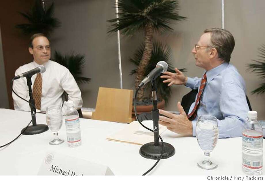 ECONDEBATE027_rad.jpg SHOWN: Before the debate begins, debaters Alan Auerback (L) and Michael Boskin (R) enjoy a conversation. Stanford Institute for Economic Policy Research hosts a presidential debate with Michael Boskin (blue shirt), the Tully Friedman Professor of Economics and Senior Fellow at the Hoover Institution and SIEPR, and Alan Auerbach (white shirt, thinner man than other man in white shirt, tie does NOT have baseballs) the Robert D. Burch Progessor of Economics and Law and Director of the Robert D. Burch Center for Tax Policy and Public Finance at UC Berkeley. Moderator is John Shoven (white shirt, tie with baseballs). Tom Abate is the writer for Business. Katy Raddatz / The Chronicle MANDATORY CREDIT FOR PHOTOG AND SF CHRONICLE/ -MAGS OUT Business#Business#Chronicle#10/07/04#ALL#Advance##0422398298 Photo: Katy Raddatz