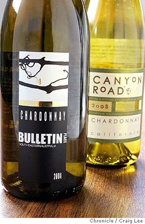 For Bargain Wines column. Photo of 2004 South Eastern Australia Bulletin Place Chardonnay and 2003 Canyon Road California Chardonnay.  Event on 10/1/04 in San Francisco. Craig Lee / The Chronicle Photo: Craig Lee