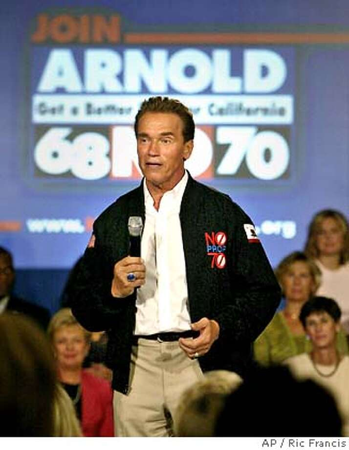 """California Gov. Arnold Schwarzenegger speaks during a town hall-style meeting Wednesday, Oct. 6, 2004, in Irvine, Calif. Schwarzenegger asked Californians to vote against two gambling initiatives (Propositions 68 and 70), calling them a """"jackpot for the special interests and a bust for California."""" (AP Photo/Ric Francis) Photo: RIC FRANCIS"""