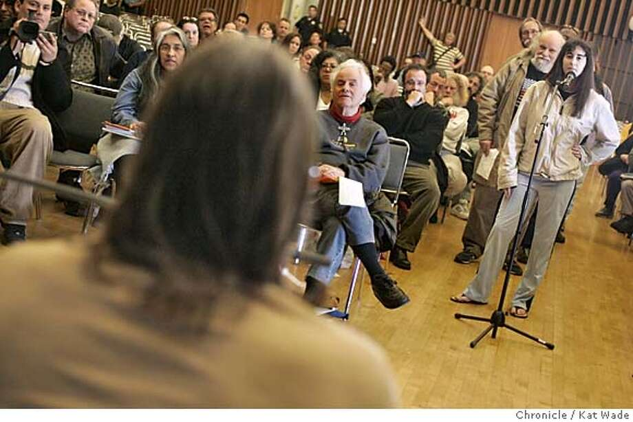 "CHURCHHILL29_061_KW.jpg  On3/28/05 in Berkeley Ward Churchill, (BACK OF HEAD) the Colorado professor who became the center of a controversy when he compared victims of 9/11 to ""Little Eichmanns,"" listens as one jewish UC Berkeley student, Kerry Eskenas, a political science/economy major, challenged his reference when Chruchill spoke on a panel in the student union at UC Berkeley Monday afternoon.  Kat Wade/ The Chronicle MANDATORY CREDIT FOR PHOTOG AND SF CHRONICLE/ -MAGS OUT Photo: Kat Wade"