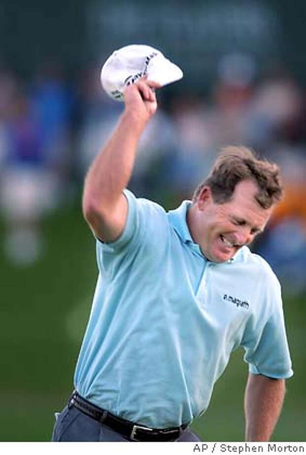 Fred Funk throws his hat after sinking a putt on the 18th green Monday March 28, 2005 during the final round of the in Ponte Vedra Beach, Fla. (AP/Stephen Morton) Photo: STEPHEN MORTON