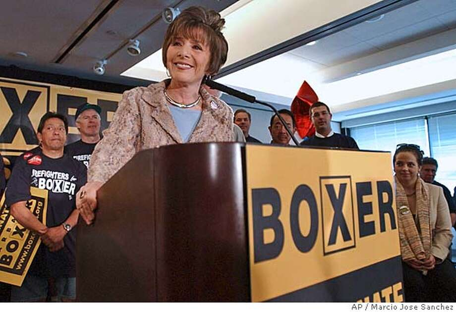 ** ADVANCE FOR USE SUNDAY, SEPT. 12 - FILE ** Sen. Barbara Boxer, D-Calif, addresses supporters during a kick-off event for her campaign in San Francisco on Tuesday, March 16, 2004. Facing her third and undoubtedly final run for the U.S. Senate, Boxer is finding herself in an unfamiliar position: the heavy favorite to win re-election, despite a history of closely-fought campaigns and her enduring status as an outspoken liberal Republicans love to hate. Even so, the 64-year old Boxer is running as if her life depended on it. (AP Photo/Marcio Jose Sanchez) ADVANCE FOR USE SUNDAY, SEPT. 12, AND THEREAFTER- FILE Nation#MainNews#Chronicle#9/23/2004#ALL#5star##0422339052 Metro#Metro#Chronicle#10/7/2004#ALL#5star##0422339052 Photo: MARCIO JOSE SANCHEZ