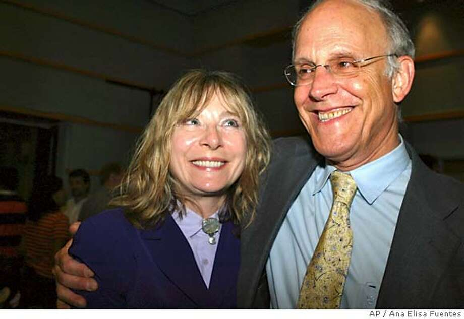 David J. Gross, Director of the Kavli Institute for Theoretical Physics of the University of California, Santa Barbara, shares a congratulatory moment with his wife Jackie Gross at the Institute on Tuesday Oct. 5, 2004, in Santa Barbara, Calif. Gross has been awarded, along with David Politzer and Frank Wilczek the 2004 Nobel Prize in physics, the Royal Swedish Academy of Sciences said on Tuesday. (AP Photo/Ana Elisa Fuentes) Metro#MainNews#Chronicle#10/6/2004#ALL#5star##0422396785 Photo: ANA ELISA FUENTES