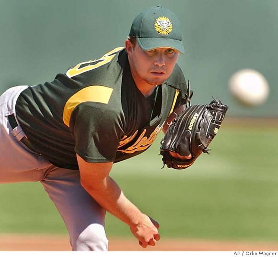 Oakland Athletics starting pitcher Seth Etherton warms up before facing the Kansas City Royals at spring training in Surprise, Ariz., Friday, March 11, 2005. (AP Photo/Orlin Wagner) Ran on: 03-12-2005  Jermaine Dye said he's excited to get a chance to play against former teammates. Ran on: 03-12-2005  Jermaine Dye said he's excited to get a chance to play against former teammates. Photo: ORLIN WAGNER