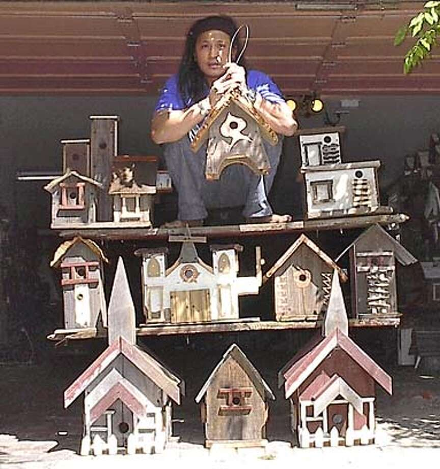 For LIFE28 WHO: Michael Parayno, birdhouse maker WHAT: Michael Parayno makes �rustic� birdhouses out of found materials and scrap wood.. His birdhouses have door knobs for birds to swing open the doors, license plate roofs, etc. He used to sell them at funky street fairs. When he made more money, he bought a fancy pickup, attached birdhouses to them, and went after the gentrified crowd on 4th Street in Berkeley. Well , now he�s been discovered by Ethan Allen, the national furniture chain. �I�m like the American Dream,�� he says, incredulous.... This is for the LIFE STUDIES column that runs in Datebook; column features profiles of �ordinary� people. Usually just run ONE ENVIRONMENTAL pix, but sometimes run more.,.. ADDRESS: 1733 Sacramento St. South Berkeley  CONTACT: Michael, 510-644-2516 STORY RUNS: Mon, 3/28