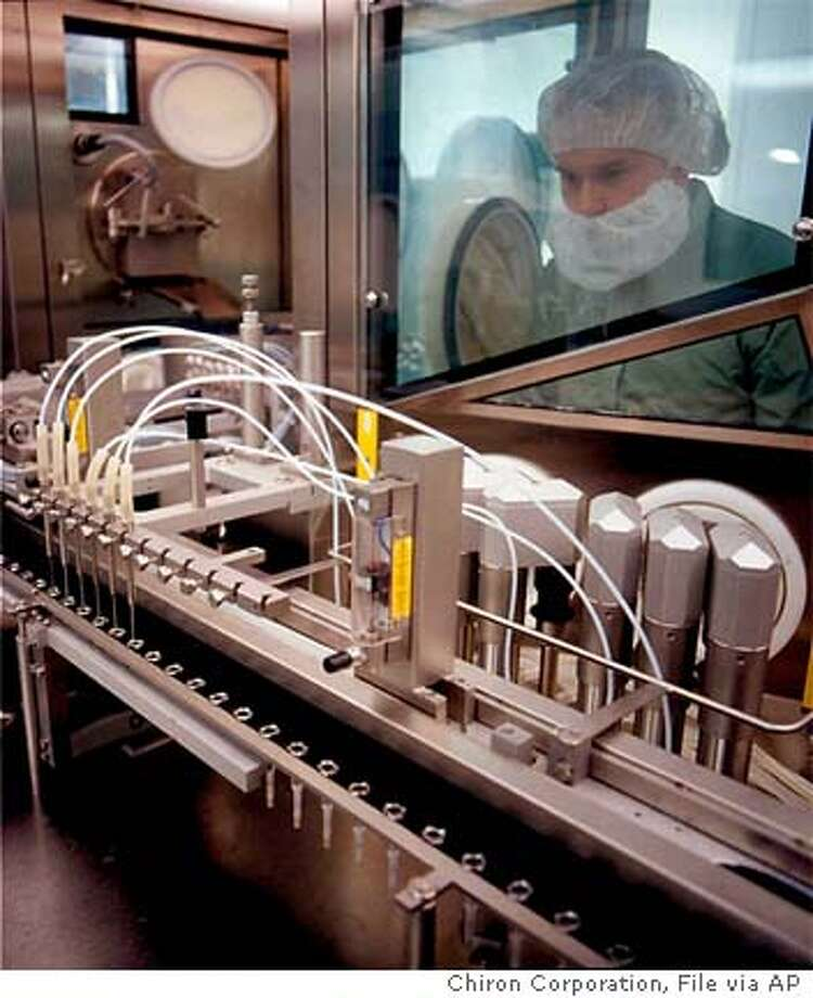 ** FILE ** Syringes are loaded with influenza vaccine at a Chiron facility in Liverpool, England, in an undated photo provided by Chiron Corp. British health authorities on Tuesday, Oct. 5, 2004, blocked flu vaccine shipments by Chiron, the company that produces half the vaccine used in the United States just ahead of the flu season. (AP Photo/HO/CHIRON CORP.)
