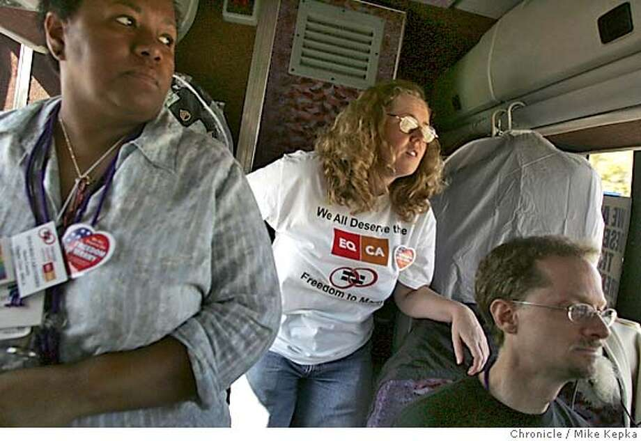 caravan060810_mk.jpg  Dolores Caruthers, Belinda Ryan and John Lewis give a look of concern as the bus roles into Salt Lake City, an area of the coutry in which they were specificaly asked not to spread their message. The did anyway.  Day 2 somwher in Nevada and or Utah.  The Bay Area chapter of Marriage Equality California, MECA, takes an 8 day cross county bus trip spreading their belief that marriage is a civil right and should be exstended to everyone in the United States.  MIKE KEPKA/The Chronicle MANADATORY CREDIT FOR PHOTOG AND SF CHRONICLE/ -MAGS OUT Metro#Metro#Chronicle#10/6/2004#ALL#5star##0422396677 Photo: MIKE KEPKA