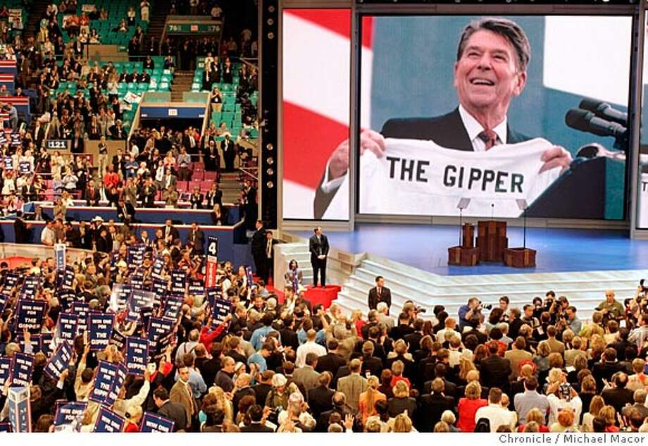 rnc1150_mac.jpg Republicans had a tribute to President Ronald Reagan.Day three of the convention. The Republican National Convention, Madison Square Garden New York City. on 9/1/04. Michael Macor / San Francisco Chronicle Mandatory Credit For Photographer and SF Chronicle/ - Magazines Out BookReview#BookReview#Chronicle#03-27-2005#ALL#2star#e3#0422320099 Photo: Michael Macor