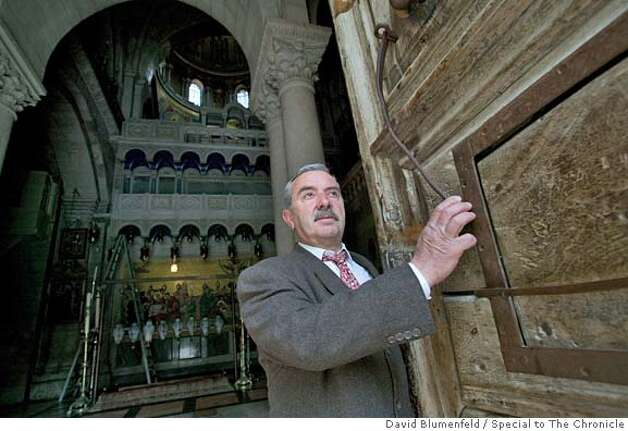 March 22, 2005: Jerusalem, Israel: Wajeeh Y. Nuseibeh, Custodian and Door-Keeper of the Church of the Holy Sepulchre opens the door of the church every day.  Photo by David Blumenfeld/Special to The Chronicle Photo: David Blumenfeld/Special To The