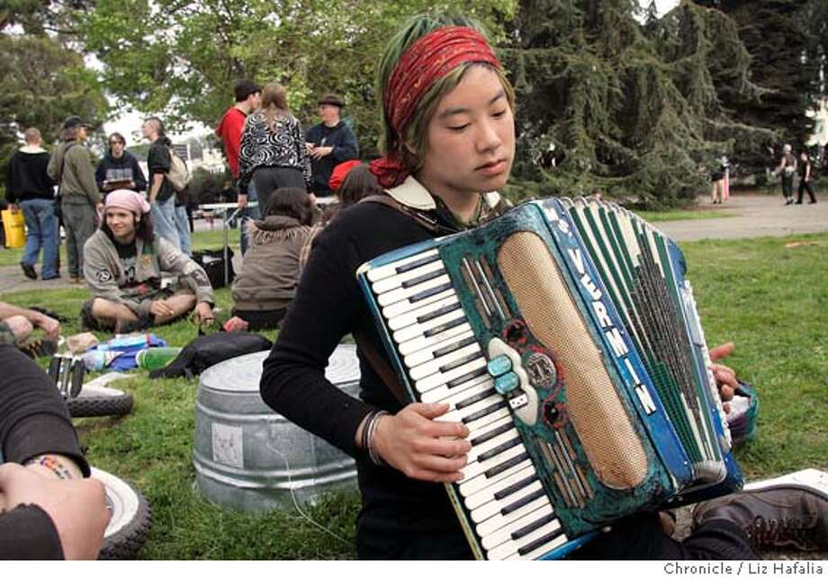 ANARCHY27_001_LH.JPG Jenny Yang playing the accordian at the anarchist book fair at the San Francisco County Fair Building in Golden Gate park.  Shot in San Francisco on 3/26/05. Creditted to San Francisco Chronicle/Liz Hafalia Photo: Liz Hafalia
