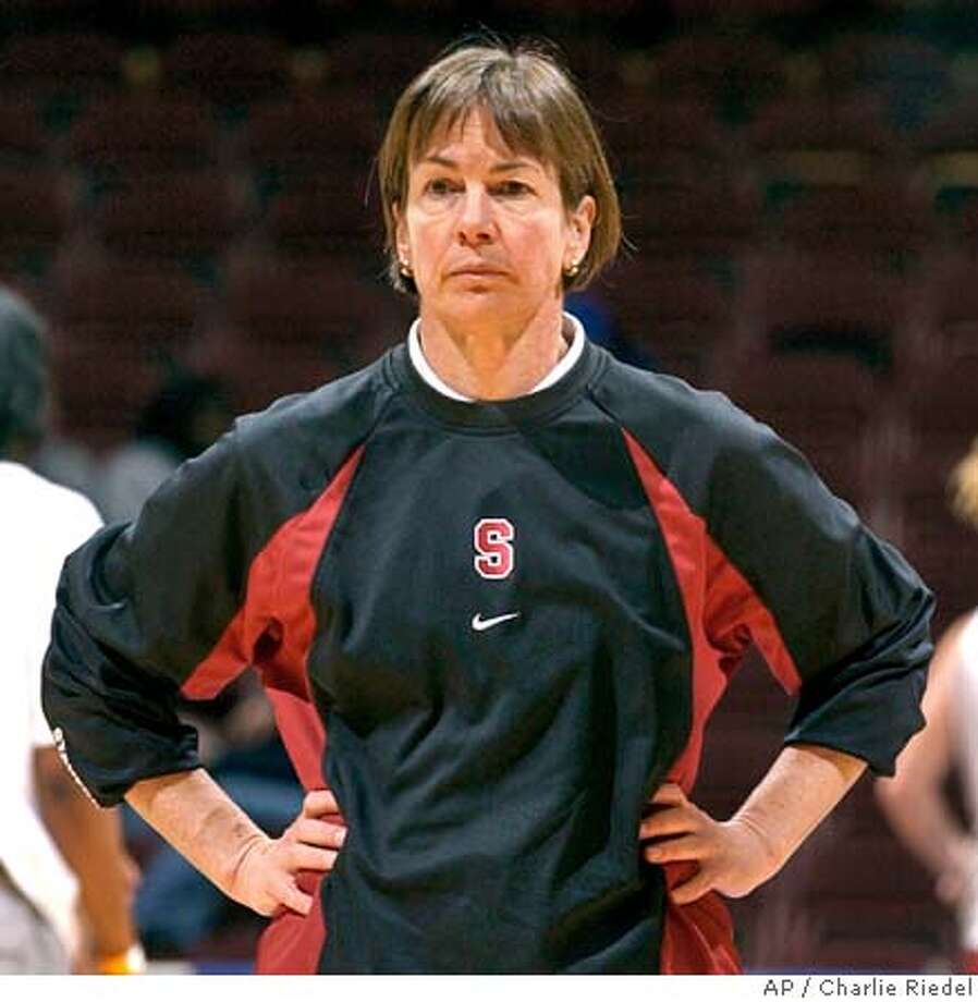 Stanford coach Tara VanDerveer watches her players practice for Sunday's game against Connecticut in the NCAA tournament regional semifinals in Kansas City, Mo., Saturday, March 26, 2005. (AP Photo/Charlie Riedel) Photo: CHARLIE RIEDEL