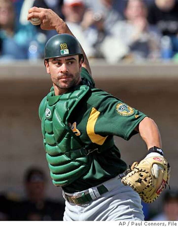 Oakland Athletics catcher Jason Kendall throws to first to retire Milwaukee Brewers batter Lyle Overbay during the first inning Saturday, March 5, 2005, in Phoenix. (AP Photo/Paul Connors) Photo: PAUL CONNORS