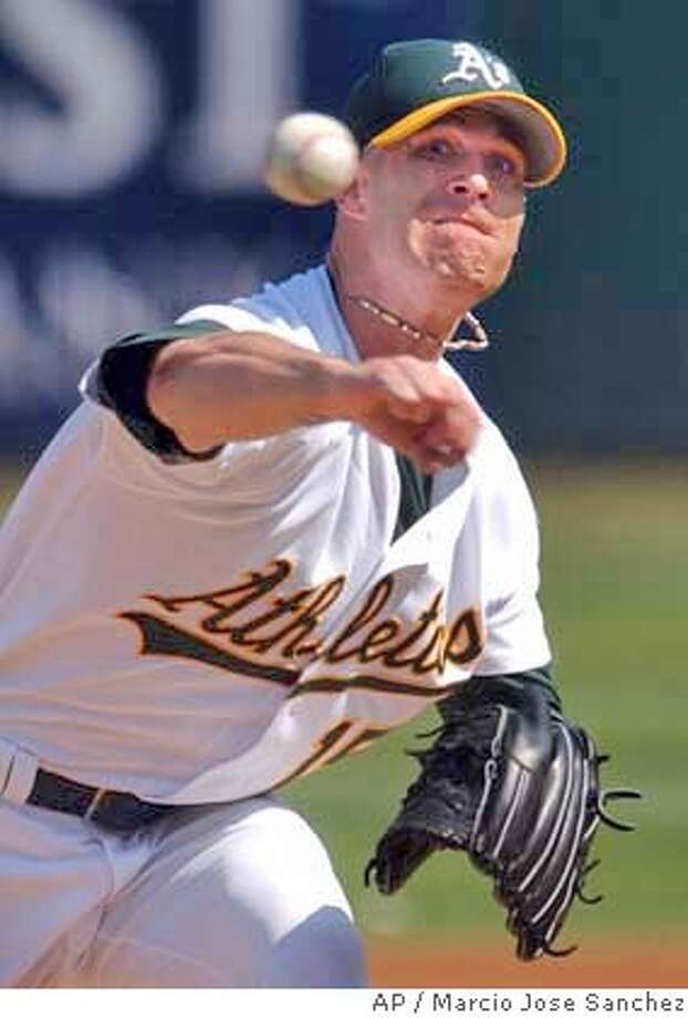 Oakland Athletics catcher Tim Hudson pitches to the Anaheim Angels in the first inning on Sunday, Oct. 3, 2004 in Oakland, Calif. Oakland won 3-2. (AP Photo/Marcio Jose Sanchez) Sports#Sports#Chronicle#10/4/2004#ALL#5star##0422392672 Photo: MARCIO JOSE SANCHEZ