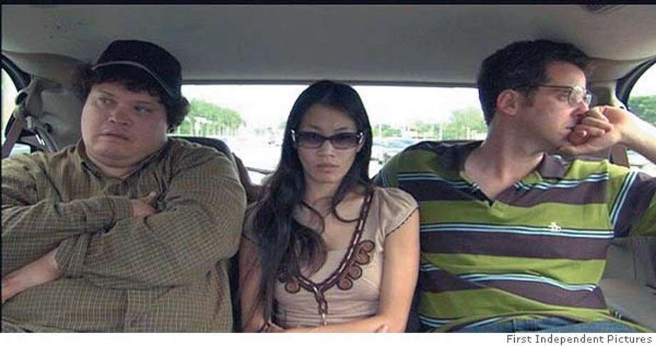 MAIL25 Car ride: Adrian, Lichi, Andrew (left to right) IN Mail Order Bride. Distributed by First Independent Pictures