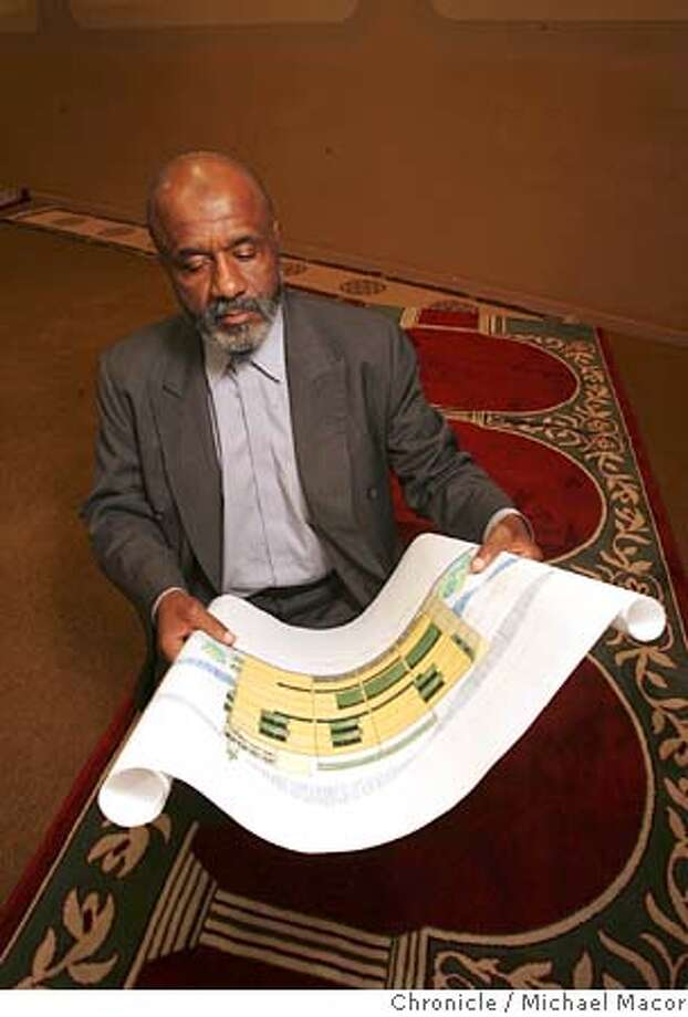 muslim_013_mac.jpg - Imam Al-AminAbu with an artists rendition of the Mosque the group wants to build of San Bruno Ave. Qadir Al-Amin, imam of the San Francisco MusliAbu Qadir Al-Amin, imam of the San Francisco Muslim community, at the group's mosque on Divisadero St. in San Francisco. He'll also have plans for the group's proposed new worship center with him. When the longtime leader of one of the United States� largest Muslim groups addresses followers at a gathering Saturday in San Francisco, he will seek to inspire followers of a movement that once drew the likes of Malcolm X and heavyweight boxing champion Muhammad Ali. 3/24/05 Oakland, Ca Michael Macor / San Francisco Chronicle Mandatory Credit for Photographer and San Francisco Chronicle/ - Magazine Out Photo: Michael Macor