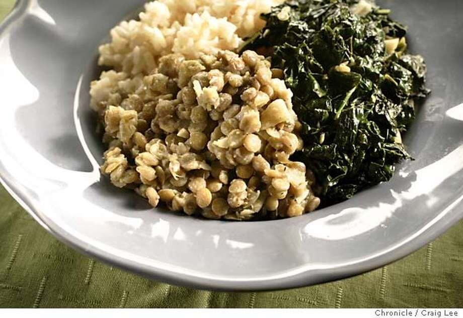 Wine pairing recipe for Marlborough (New Zealand) Sauvignon Blancs. Photo of Lentils and Kale. Food photo styled by Amanda Gold.  Event on 3/10/05 in San Francisco. Craig Lee / The Chronicle Photo: Craig Lee