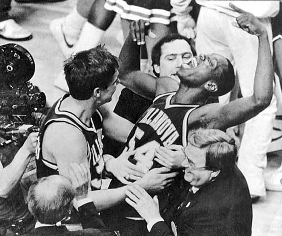 Villanovas Ed Pinkney (54) celebrates his teams 1985 NCAA title game win over Georgetown