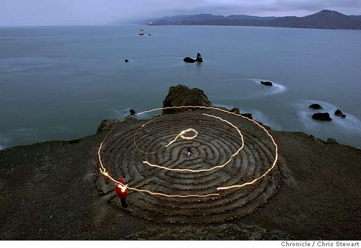 Event on 2/26/05 in San Francisco. The 11 circuit labyrinth on a bluff overlooking Mile Rock Beach at Land's End. The 18-foot rock labyrinth was installed on the Spring Equinox of 2004. Chris Stewart / Chronicle