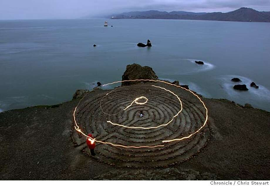 Event on 2/26/05 in San Francisco.  The 11 circuit labyrinth on a bluff overlooking Mile Rock Beach at Land's End. The 18-foot rock labyrinth was installed on the Spring Equinox of 2004.  Chris Stewart / Chronicle Photo: Chris Stewart