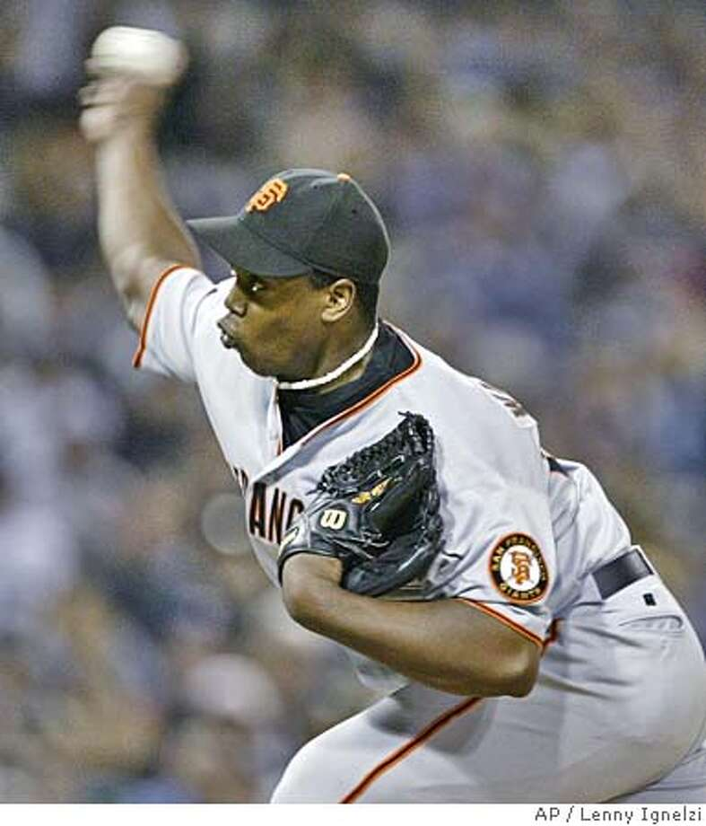 San Francisco Giants starter Jerome Williams releases a pitch in the second inning against the San Diego Padres Thursday, Sept. 30, 2004, in San Diego.(AP Photo/Lenny Ignelzi) Photo: LENNY IGNELZI