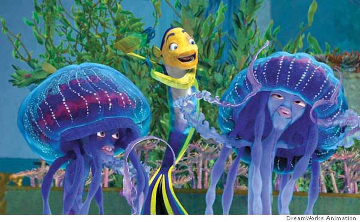 MOVIEPREVIEW29_SHARK1.JPG Oscar (WILL SMITH, center) celebrates his good fortune by jamming on the jellies, Bernie and Ernie (DOUG E. DOUG and ZIGGY MARLEY), in DreamWorks Animation�s computer-animated comedy SHARK TALE. Courtesy of DreamWorks Animation DreamWorks Animation Datebook#Datebook#Chronicle#10/01/04#ALL#Advance##0422251554