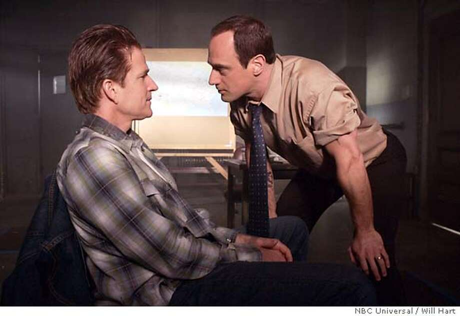 "SVU23 LAW & ORDER: SPECIAL VICTIMS UNIT -- NBC Series -- ""Rage"" -- Pictured: (l-r) Matthew Modine as Gordon Rickett, Christopher Meloni as Det. Elliot Stabler -- NBC Universal Photo: Will Hart Law & Order: Special Victims Unit 01/10/05  Episode: E5219 ""RAGE""  Scene: 15 (Int) Interrogation room  'Stabler & Fin bring up Rickett's parents - Stabler spits in his face'  Chris Meloni (Stabler)  Ice-T (Fin)  Matthew Modine (Gordon Rickett)  Photo credit: Will Hart / NBC Universal Ran on: 03-23-2005  Detective Elliot Stabler (Christopher Meloni, right) gets real with a suspect (Matthew Modine). Below: Mariska Hargitay as Detective Olivia Benson. Ran on: 03-23-2005 Photo: WILL HART"