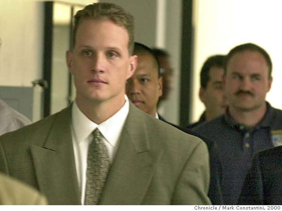 "RIDERS07b-C-06DEC00-EZ-MC. Matt Hornung, an Oakland cop and part of a group known as ""The Riders,"" leaves Alameda County Superior Court in Oakland today. Photo by Mark Costantini/Chronicle ALSO RAN 5/31/2001, 4/29/02, 02/19/03, 5/30/03, 9/12/2003, 10/01/03, 10/02/03 Ran on: 11-02-2004  Jude Siapno, Matt Hornung and Clarence Mabanag (from left), all former Oakland police officers, are accused of abusing suspects and falsifying police reports. Ran on: 11-03-2004  Matt Hornung CAT w/JURY jump"