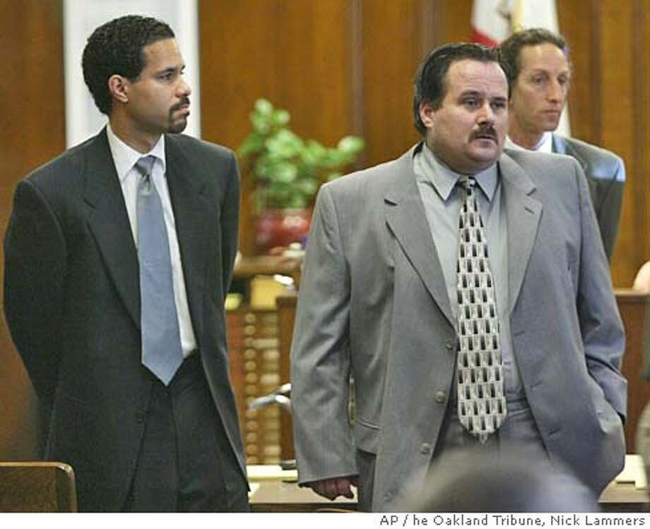 Stuart Alexander, right, stands with Assistant Public Defender Jason Clay in Alameda County Superior Court April 26, 2004 in Oakland, Calif. Alexander, 43, faces three counts of murder in the June 2000 deaths of U.S. Department of Agriculture inspectors Thomas Quadros, 52, and Jeannie Hillery, 56, and California state inspector Bill Shaline, 57, at his Santos Linguisa Factory in San Leandro. A fourth inspector survived and is expected to testify at Alexander's trial. (AP Photo/The Oakland Tribune, Nick Lammers) Ran on: 06-10-2004  Stuart Alexander Ran on: 06-10-2004  Stuart Alexander , MAGS OUT, LOCALS PLEASE CREDIT Metro#Metro#Chronicle#10/1/2004#ALL#5star#b5#0421735941 Photo: NICK LAMMERS
