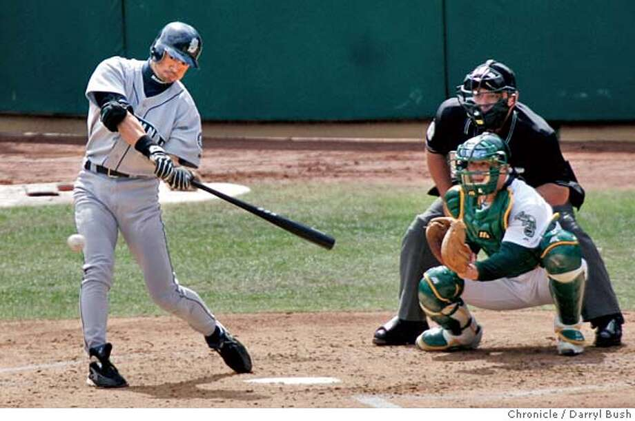 Oakland Athletics Bobby Crosby hits a game winning walk-off home run in the bottom of the ninth inning vs. Seattle Mariners at Oakland. 9/30/04 in Oakland  Darryl Bush / The Chronicle Photo: Darryl Bush
