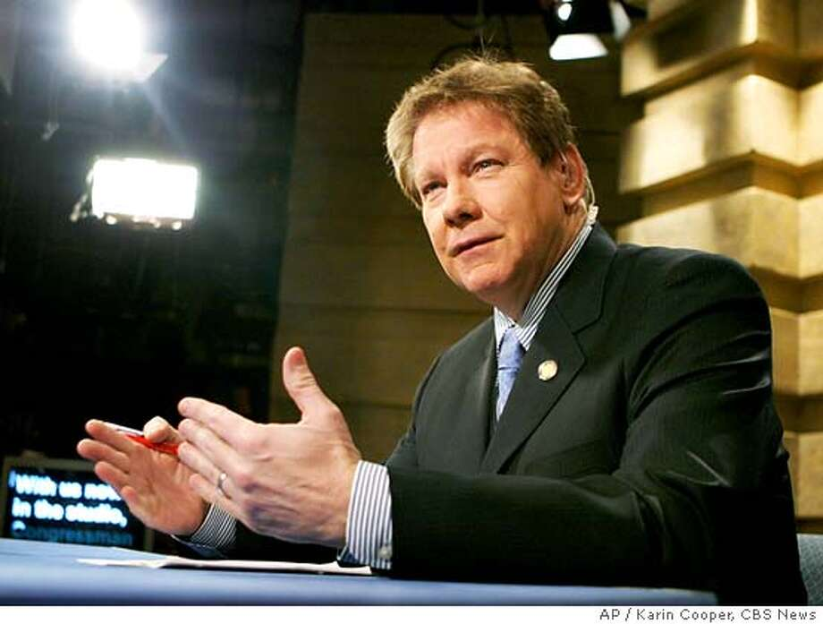 "In this photo provided by CBS News, Rep. Tom Davis, R-Va., appears on CBS' ""Face the Nation,"" in Washington, Sunday, March 20, 2005. (AP Photo/CBS News, Karin Cooper) **MANDATORY CREDIT KARIN COOPER NO ARCHIVE** PHOTO PROVIDED BY CBS NEWS. MANDATORY CREDIT KARIN COOPER NO ARCHIVE Photo: KARIN COOPER"