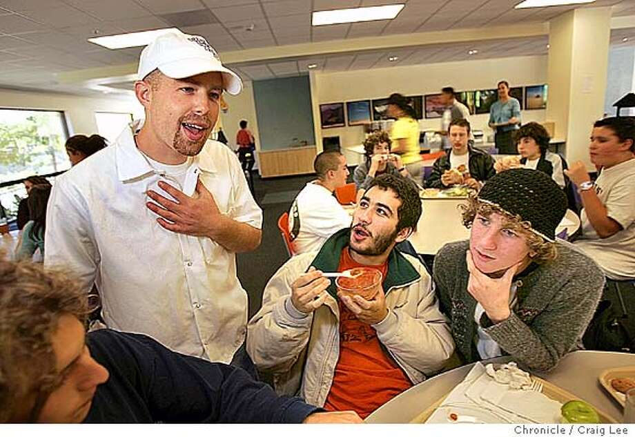 Unique kosher lunch program at Jewish Community High School, which was initiated by Jesse Alper, son of Noah's Bagel founder Noah Alper. Photo of Jesse Alper (left) with some students, Elie Sherman (middle) and Yoni Berk (right). Event on 9/24/04 in San Francisco. Craig Lee / The Chronicle Photo: Craig Lee