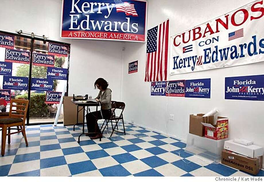 CUBANOS_0301_KW.jpg On 9/29/04 in Miami at the Kerry/Edwards campaign Hispanic outreach office in Little Havana, volunteer, Maravillas Corazzini mans the phones before the upcoming debate between George W. Bush and Sen. John Kerry on Thursday in Miami. CHronicle Photo by Kat Wade Mags Out/ manditory credit Nation#MainNews#Chronicle#9/29/2004#ALL#5star##0422379905 Photo: Kat Wade