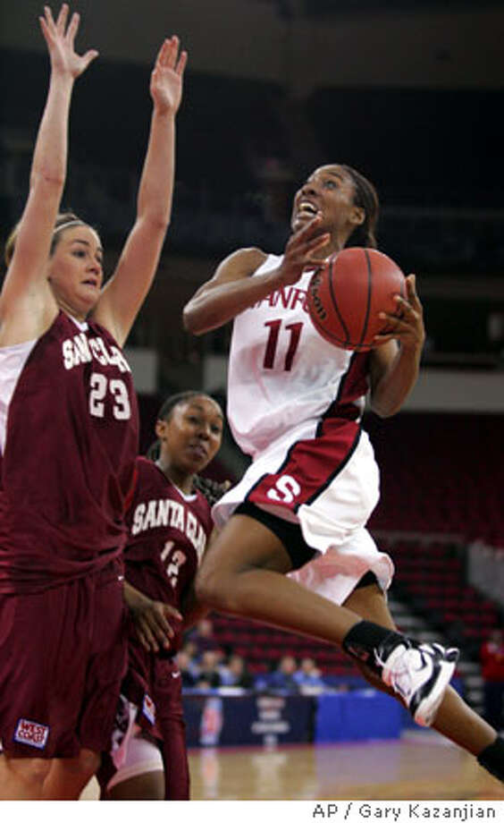 Stanford's Candice Wiggins drives to the hoop past Santa Clara's Tori Markey in the first half Saturday, March 19, 2005 in Fresno, Calif.(AP Photo/Gary Kazanjian) Photo: GARY KAZANJIAN