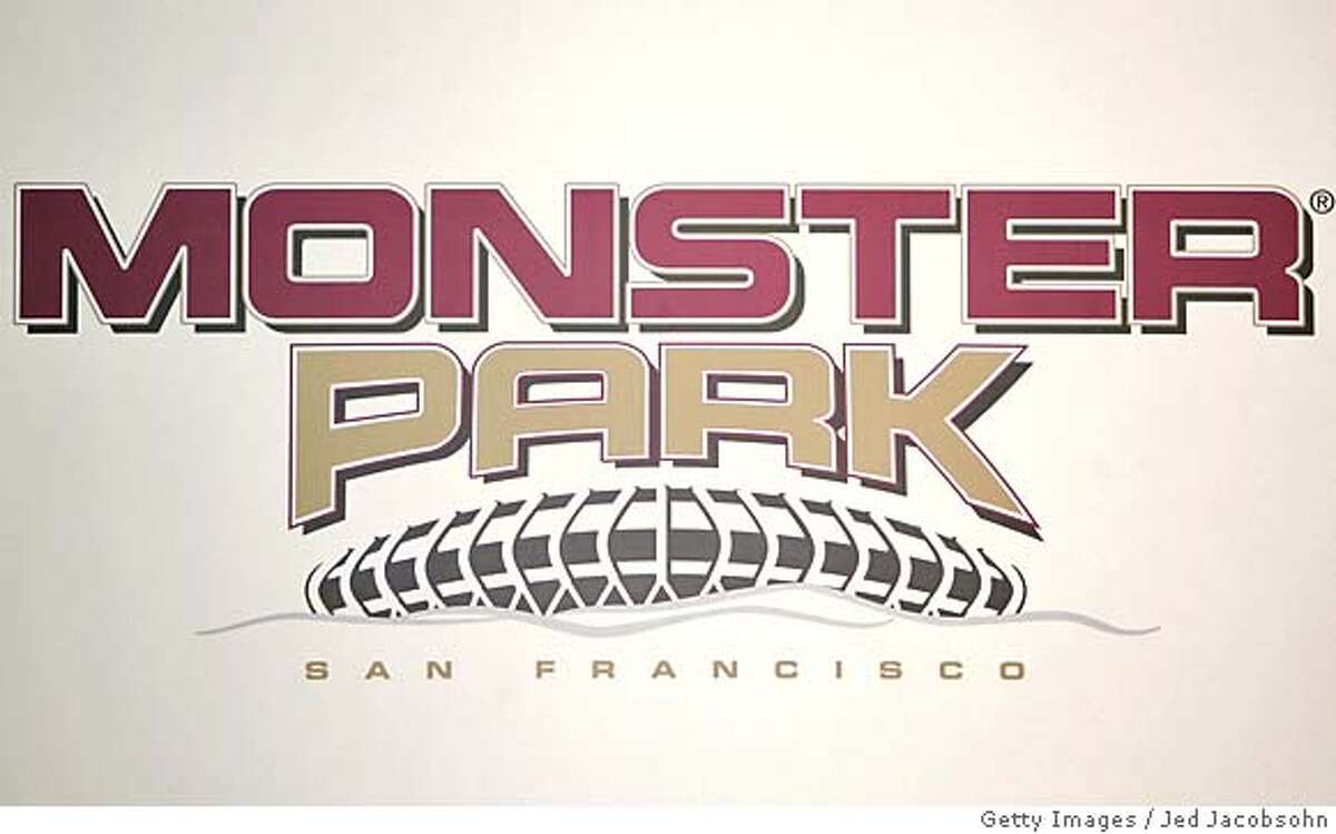 """SAN FRANCISCO - SEPTEMBER 28: The new logo for Monster Cable Company at a press conference announcing the naming rights of the San Francisco 49ers stadium to """"Monster Park"""" on September 28, 2004 at Monster Park in San Francisco, California. (Photo by Jed Jacobsohn/Getty Images) Metro#MainNews#Chronicle#9/29/2004#ALL#5star##0422381350"""