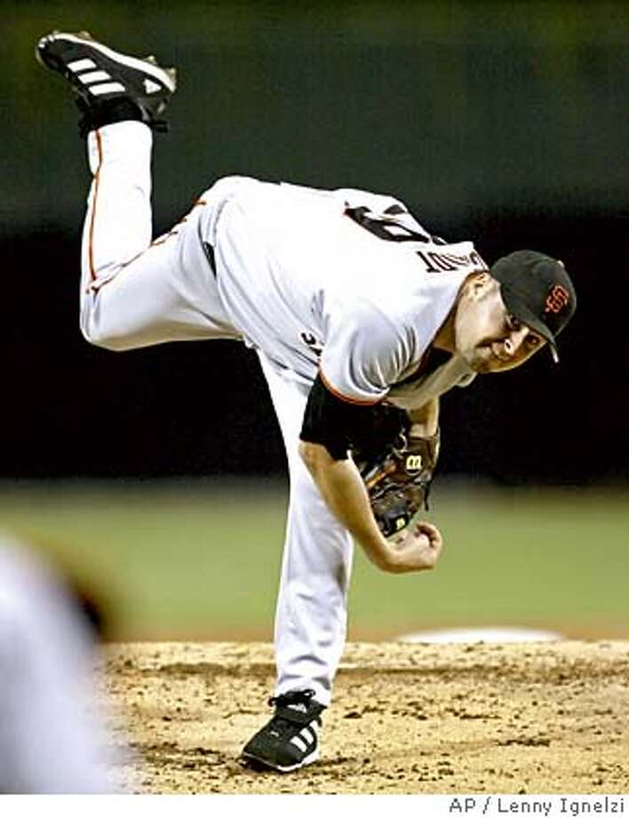 San Francisco Giants starter Jason Schmidt works against the San Diego Padres in the second inning Tuesday, Sept. 28, 2004, in San Diego. (AP Photo/Lenny Ignelzi) Photo: LENNY IGNELZI