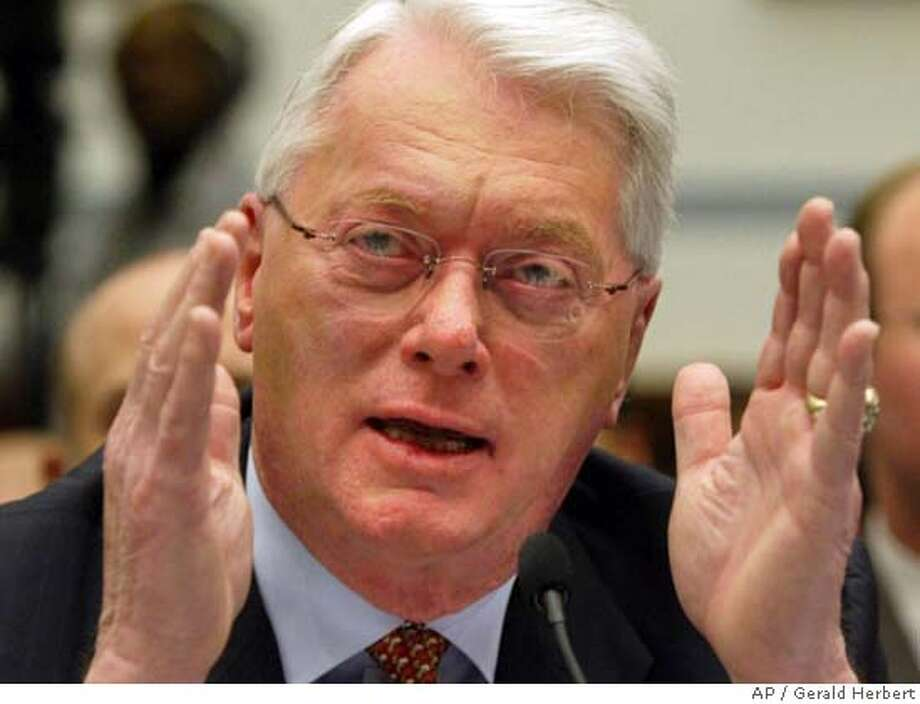 Major League Baseball Hall of Famer Sen. Jim Bunning, R-Ky., testifies during a hearing on Capitol Hill to examine the use of steroids in baseball in Washington Thursday, March 17, 2005. (AP Photo/Gerald Herbert) Photo: GERALD HERBERT