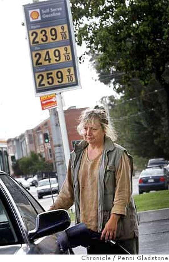 """OILPRICES28_042_PG.jpg  Sondra Gray lives in Mission, says when asked about these prices, """"they're scary,"""" """"when I got this car new it cost $10. to fill it up, it now costs $20. . oil and gas price rise again, especially at this Shell station at Mission/S.J./randall aves.  San Francisco on 9/28/04 by PENNI GLADSTONE Business#Business#Chronicle#9/28/04#ALL#Advance##0422377268 Photo: PENNI GLADSTONE"""