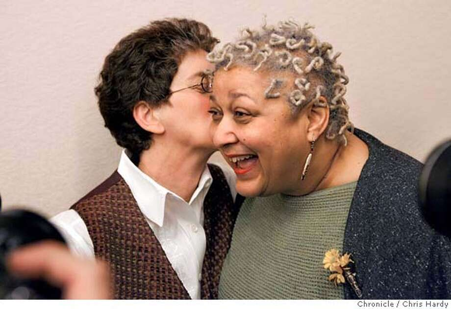 _M0T0109.JPG  Diane Sabin kisses Jewele Gomez at press conference on same sex ruling at city hall.  Reaction at city hall after appellate court rules in favor of same sex marriage  in San Francisco  3/14/05 Chris Hardy / San Francisco Chronicle Photo: Chris Hardy