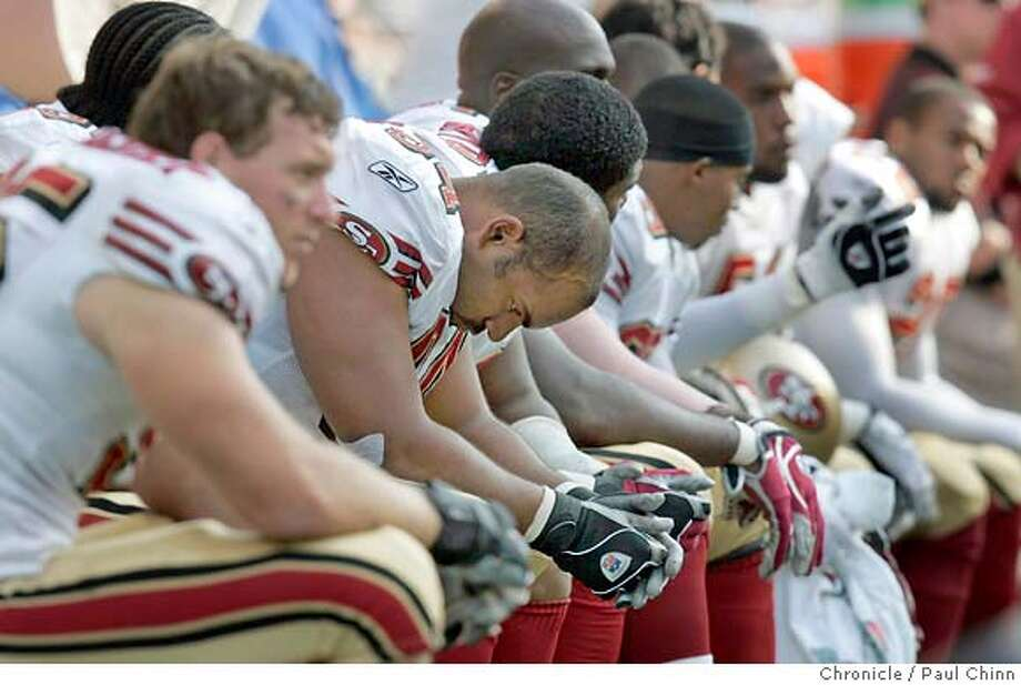 There were plenty of long faces on the 49ers bench in the closing minutes of the game. San Francisco 49ers vs. Seattle Seahawks at Qwest Field on 9/26/04 in Seattle, WA. PAUL CHINN/The Chronicle Photo: PAUL CHINN